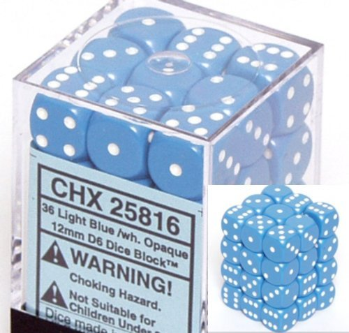 (Chessex Dice d6 Sets: Opaque Light Blue with White - 12mm Six Sided Die (36) Block of Dice)