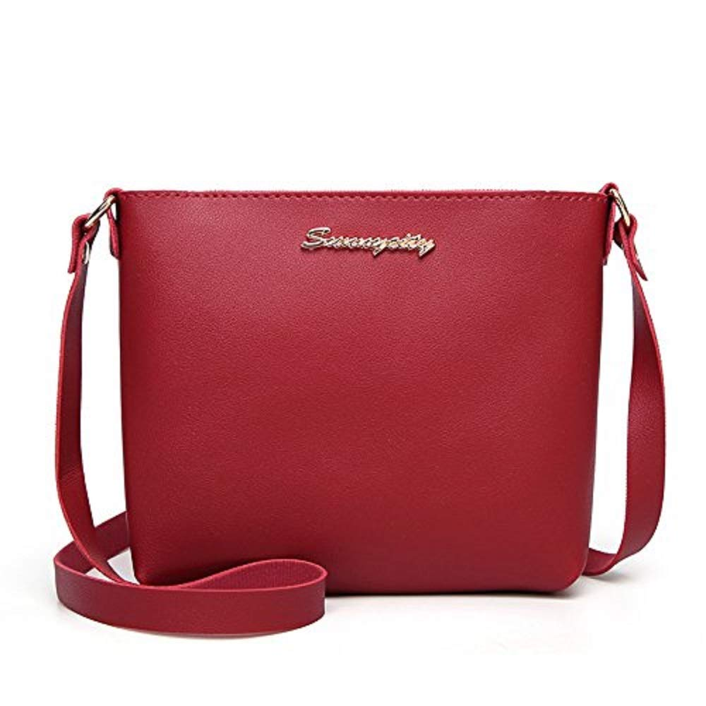 Crossbody Bags, Dream Room Women Fashion Solid Color Messenger Bag Phone Bag Coin Bag (Red)