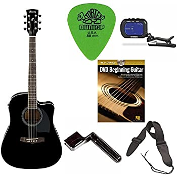ibanez pf15ece pf acoustic electric cutaway guitar black free dvd guitar pics. Black Bedroom Furniture Sets. Home Design Ideas