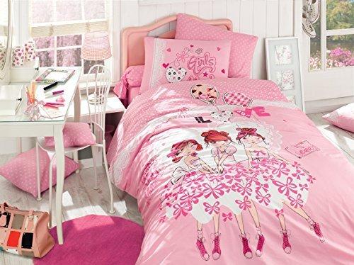 %100 Cotton Girl's Single Twin Duvet Quilt Cover Set Bedding Linens 3 Pcs