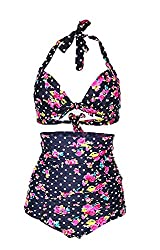 Fablight Women's 50S Retro Vintage Halter High Waist Bikini Swimwear Polka Dots L(US6-8)