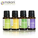 Makani Essential Oils - Singles: Best Sellers Essential Oils Kit, Lemon Oil 15ml, Lavender Oil 15ml, Melaleuca 15 ml, Peppermint Oil 15ml