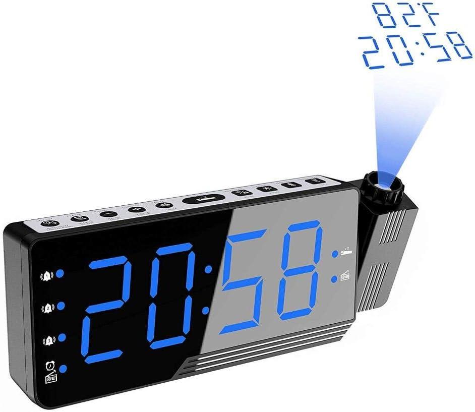 DYWLQ Reloj Despertador de proyección, Pantalla LED Grande Radio ...