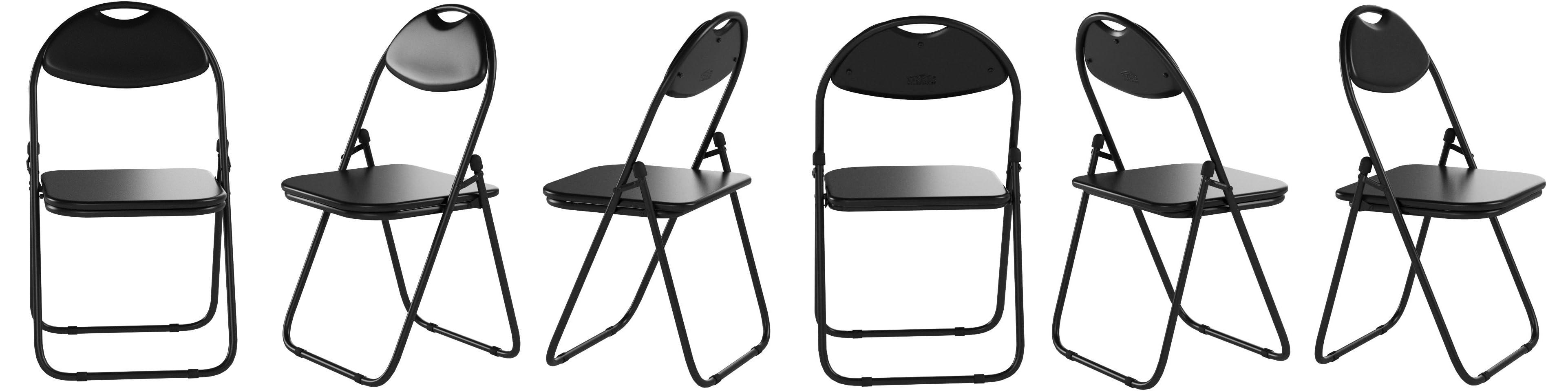 Silla de escritorio plegable - Con acolchado y estructura en negro - Pack de 6