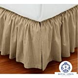 Royal Linen Collection Hotel Quality 800TC Pure Cotton Dust Ruffle Bed Skirt 22'' Drop length 100% Natural Cotton Twin XL Size Taupe Stripe