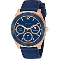 [Sponsored]GUESS Men's Stainless Steel Android Wear Touch Screen Silicone Smart Watch, Color:...
