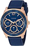 GUESS Men's Stainless Steel Android Wear Touch Screen Silicone Smart Watch, Color: Blue (Model: C1001G2)