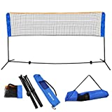 PE Adjustable Portable Badminton Net Set with Polyester Cloth Bag and Iron Tube Black Blue 10' X 5' X 3.4' | Perfect for Tennis Soccer Tennis Pickle ball Kids Volleyball Indoor Outdoor Court Beach