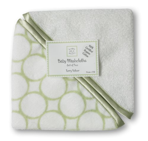 (SwaddleDesigns Organic Cotton Terry Velour Baby Washcloths, Set of 2, Kiwi Mod Circles with Satin Trim)