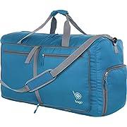 Bago 60L Sports & Travel Duffle Bag – Foldable Weekender Bag For Women & Men – Lightweight waterproof Shoe Pocket (Blue)