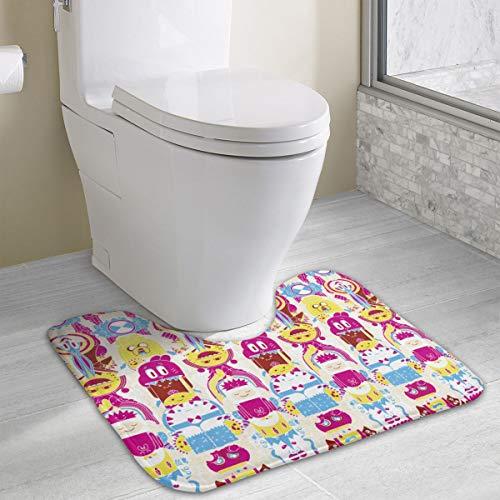 JML-LUV Cartoon Adventure Time Memory Foam Bath Rugs Non-Slip Soft and Absorbent Contour U-Shaped Bathroom Bath Mats Rug Carpet