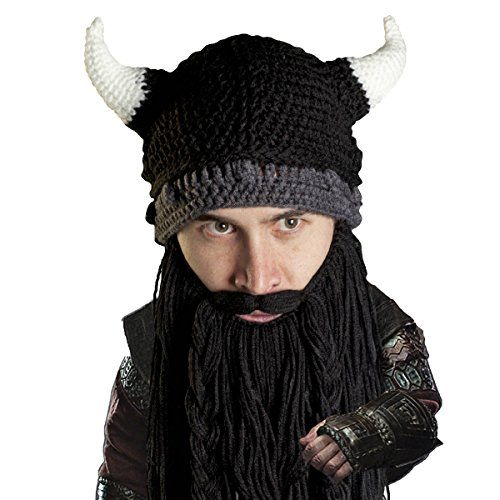 Beard Head Viking Pillager Beard Beanie - Funny Knit Horned Hat and Fake Beard Black -