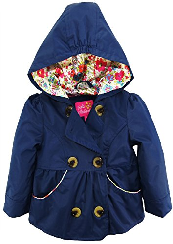 Pink Platinum Baby Girls' Inf Short Trench with Satin Lining, Navy, 12M