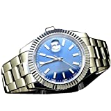 41mm Parnis Blue Dial Automatic mechanical Sapphire crystal Stainless Steel Men Watch