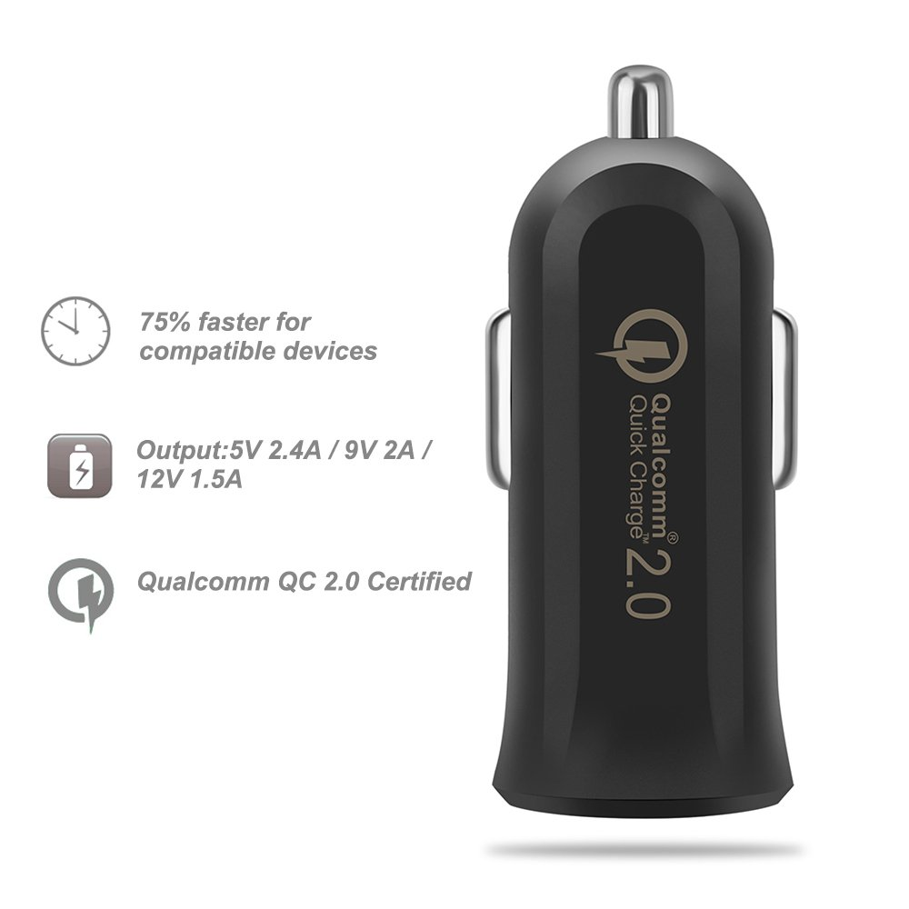 iPad Apple and Android Devices JOTO Mini Turbo Rapid USB Car Charger Black 4327074705 QC 2.0 Mini USB Car Charger Qualcomm Certified Quick Charge 2.0 USB Car Charger, for iPhone
