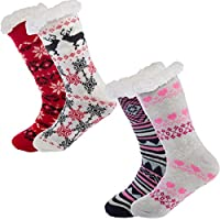 Treehouse Knit (2 Pack) Womens Thick Knit Sherpa Lined Cozy Thermal Fuzzy Slipper Socks With Grippers