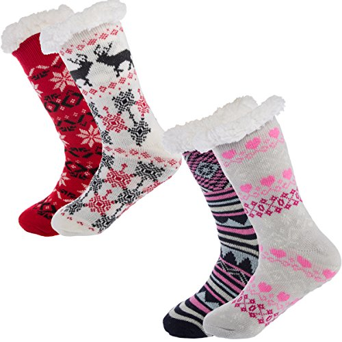 Treehouse Knit Womens Thick Knit Sherpa Lined Cozy Thermal Fuzzy Slipper Socks With Grippers