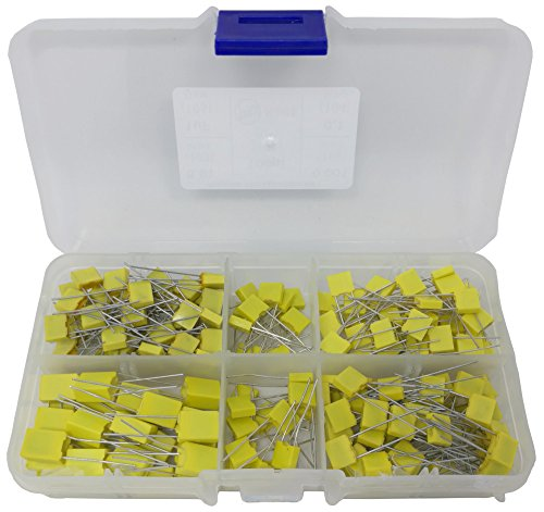 Mica Capacitors - 0.1uf, 0.01uf, 0.001uf, 100pf, 1uF, Yellow Box MKT Polyester Film Capacitor Assortment