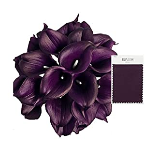 Angel Isabella, LLC 20pc Set of Keepsake Artificial Real Touch Calla Lily with Small Bloom Perfect for Making Bouquet, Boutonniere,Corsage (Plum) 5