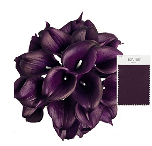 Angel Isabella 20pc Set of Keepsake Artificial Real Touch Calla Lily with Small Bloom Perfect for Making Bouquet, Boutonniere,Corsage (Plum)