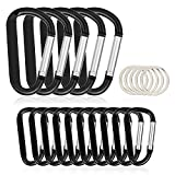 15PCS Carabiner Caribeaner Clip,5 X 3 Large + 10 X 2.4 Small with 10PCS Keyrings Aluminum Hook Bulk Pack for Keychain Home RV Outdoor Backpack(Not for Heavy Duty Climbing)