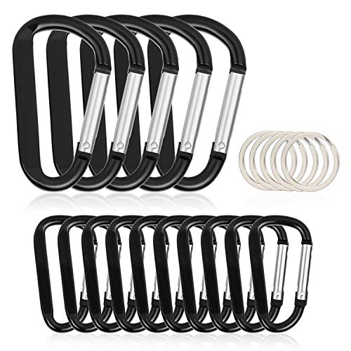 15PCS Carabiner Caribeaner Clip,5 X 3 Large + 10 X 2.4 Small with 10PCS Keyrings Aluminum Hook Bulk Pack for Keychain Home RV Outdoor Backpack(Not for Heavy Duty ()