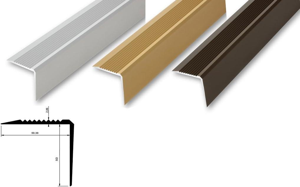 ungebohrt 900 mm , gold - Innenma/ß 50 x 50 mm 14,04/€//m Treppenwinkel 53 x 53 x 900 mm Treppen-Kantenprofil Stufen-Profil Alu-Winkel Kantenschutzwinkel stabil