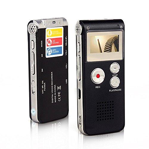 Btopllc Multifunktionale Digital Audio Voice Recorder / Wiederaufladbare Dictaphone mit Mini-USB-Port / Support A-B Repeat-Funktion für die Aufnahme Telefongesprächen / Meetings / Interviews (Black)