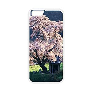 Diy Colorful Cherry Blossom Phone Case for iphone 6 Plus (5.5 inch) White Shell Phone JFLIFE(TM) [Pattern-1] hjbrhga1544