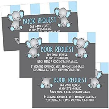 Amazon baby shower book insert request cards 50 cards health 25 books for baby request insert card for boy blue elephant baby shower invitations or invites cute bring a book instead of a card theme for gender reveal filmwisefo