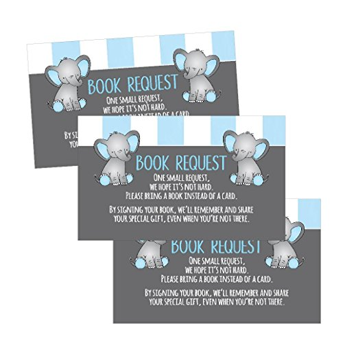 25 Books for Baby Request Insert Card for Boy Blue Elephant Baby Shower Invitations or invites, Cute Bring A Book Instead of A Card Theme for Gender Reveal Party Story Games, Business Card Sized ()