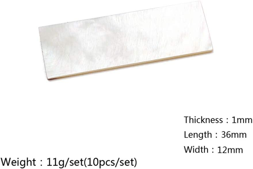 Healifty 10PCS Inlay Material White Mother Of Pearl Shell Blanks Sheet Rectangle Guitar Mandolin Banjo Maker