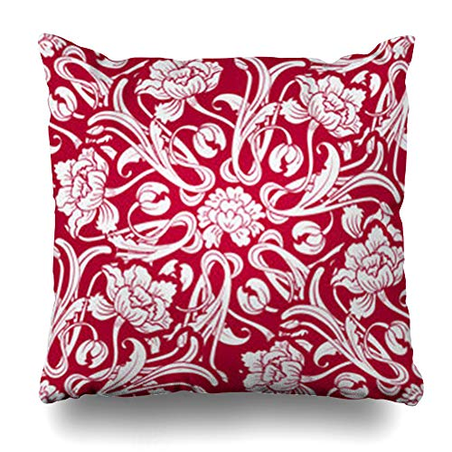 (iDecorDesign Throw Pillow Covers Nature Floral Red Flowers Oriental in Chinese Antique Porcelain Asian Bloom Blossom Culture Home Decor Pillow Case Square Size 20 x 20 Inches Pillowcase)