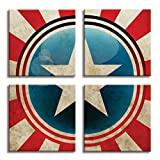 JP London 4 Panels 14in 4 Huge Gallery Wrap Canvas Wall Art Captain America Shield Superhero Avengers At Overall 28in QDCNV2423