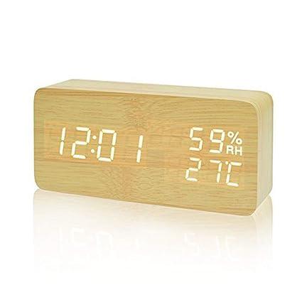 COOLEAD Reloj Despertador Madera, Escritorio Digital Despertador con Tiempo/Fecha/Temperatura/Humedad, 3 Grupos de Alarma, Brillo Ajustable y Control ...
