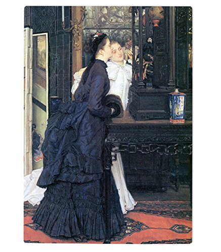 Young Women With Japanese Goods (Tissot) Kitchen Bar Glass Cutting Board 11''x8'' by Style in Print