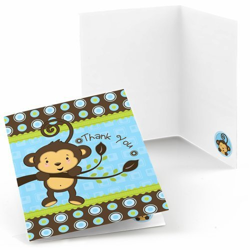 Big Dot of Happiness Monkey Boy - Baby Shower or Birthday Party Thank You Cards (8 Count)