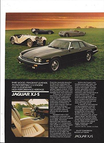 (MAGAZINE ADVERTISEMENT For 1986 Black Jaguar XJS: High Performance Heritage )