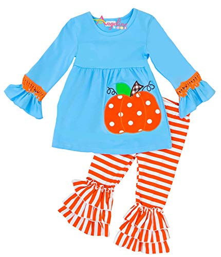 Little Girls Halloween Pumpkin Ruffles Pant Set Blue