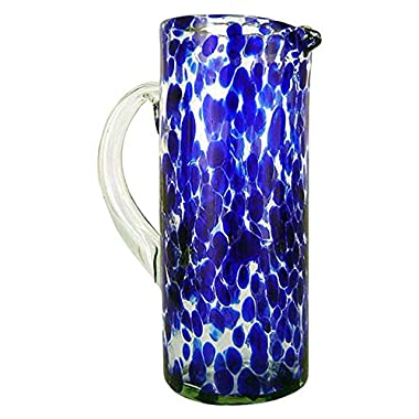 NOVICA Hand Blown Blue and Clear Decorative Recycled Glass Pitcher, 33 oz 'Dotted Blue'