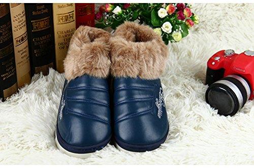 Habuji uomini caldi borsa ispessita con pew impermeabile antiscivolo pantofole di cotone andare fuori, 40-41, blu