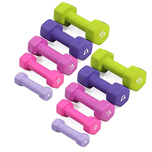 CAP Barbell SDN4 Colored Neoprene Hex Dumbbell Set - 1, 2, 3, 4, 5 lbs (5 pairs) - For Aerobic Workouts and Light Strength Training
