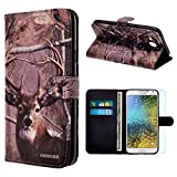 Samsung Galaxy E5 / E500 Case, INNOVAA Premium Leather Wallet Case with STAND Flip Cover W/ Free Screen Protector & Stylus Pen - Deer Hunting