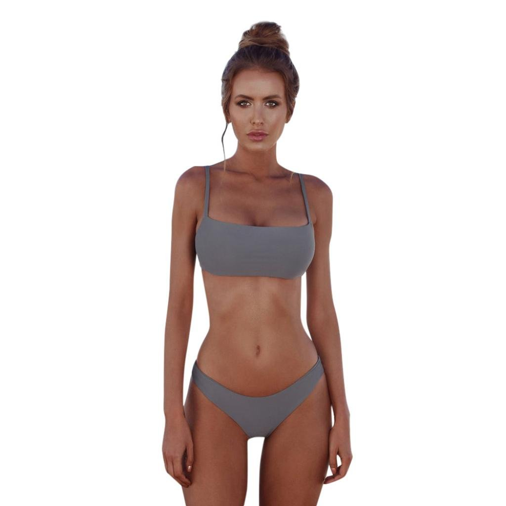 Challyhope Women Bathing Suit 2PCS Bikini Strapless Bandeau Swimsuit Tops Bottoms Set