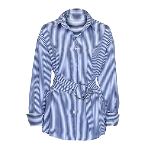 Tootu Lady Sexy Long Sleeve Shirt Casual Shirts Tops Stripe Blouse (XL, Blue)