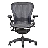 Herman Miller Classic Aeron Task Chair: Tilt Limiter w/Seat Angle Adj - Lumbar Pad - Fully Adj Vinyl Arms - Standard Carpet Casters