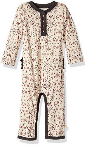 Burt's Bees Baby Baby Girl's Romper Jumpsuit, Long Sleeve One-Piece Coverall, 100% Organic Cotton, Winter Wool Watercolor Damask Ruffled, 6-9 Months