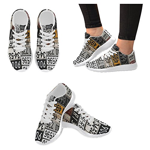 InterestPrint Women's Jogging Running Sneaker Lightweight Go Easy Walking Casual Comfort Sports Running Shoes Size 10 Various Old Car License Plates by InterestPrint (Image #2)