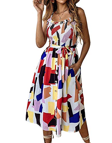 Daxvens Summer Sunflower Dresses for Women Casual Beach Party Spaghetti Midi Boho Sundress Pocket ()