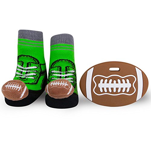 Waddle Sports Fan Baby Gift Football Baby Gift Newborn Rattle Sneaker Socks and Popular Teether Favorite Teething (Football Rattle)